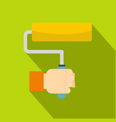 Hand hoding paint roller icon flat style vector