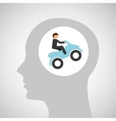 Head silhouette atv rider extreme sport vector