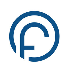 letter f with circle logo vector image vector image