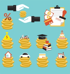 Loan coins with objects credit vector