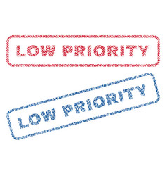 Low priority textile stamps vector