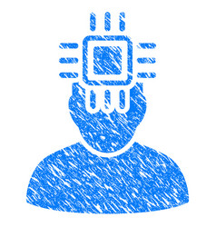 neuro interface grunge icon vector image