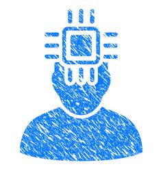 Neuro interface grunge icon vector
