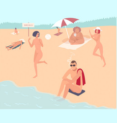 nudist beach nude people mans and womans relax vector image vector image