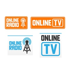 Online radio and tv signs vector