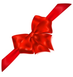 Red bow with diagonally ribbons vector image