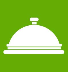 Restaurant cloche icon green vector
