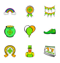 Saint patrick icons set cartoon style vector