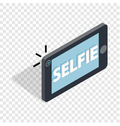 Selfie word on a smartphone isometric icon vector