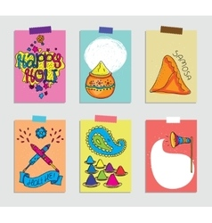 Set of cards for Holi festival vector image vector image
