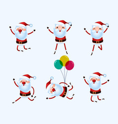 set of cute santa claus character for christmas vector image