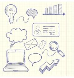 Set of doodle business management vector image