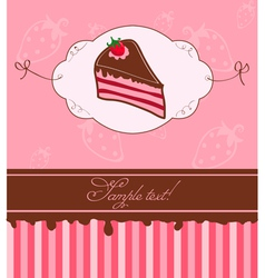 strawberry cake card vector image vector image