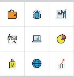 Trade colorful outline icons set collection of vector
