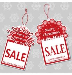 Two christmas sale tags vector