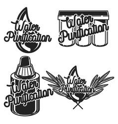Vintage water purification emblems vector