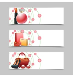 Women shopping banners vector