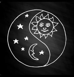yin yang moon at night on chalkboard vector image