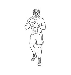 young caucasian male boxer in boxing gloves vector image