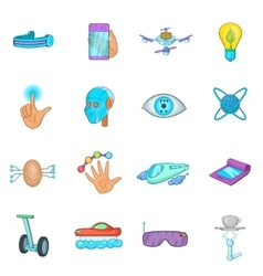 New technologies icons set cartoon style vector