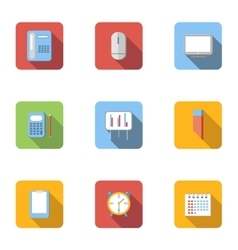 Office work icons set flat style vector