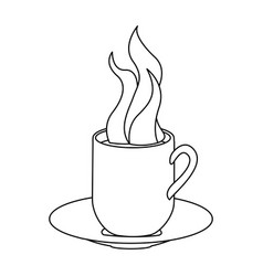 Monochrome contour with hot mug of coffee serving vector