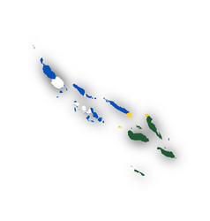 Map and flag of the solomon islands vector