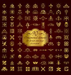Golden ornamental elements for design vector