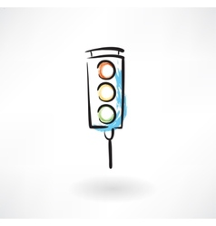Traffic light grunge icon vector