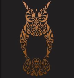 Tribal owl with decorative ornament isolated on b vector