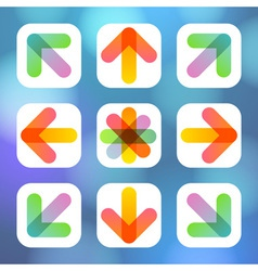 Colorful arrow icon flat menu vector