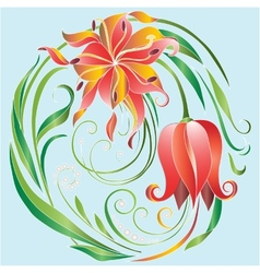 tulips in a circle vector image