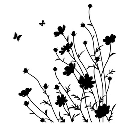 Decorative flowers silhouette vector