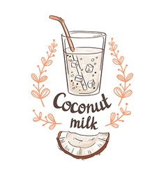 Picture of half a coconut and coconut milk hand vector