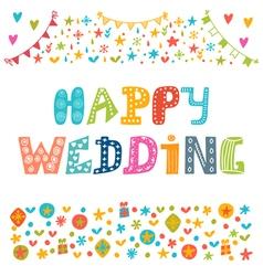 Happy wedding inspirational motivational quote vector