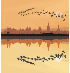 Historic towns and migrating geese vector
