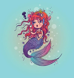 Doodle mermaid under the sea cartoon character vector