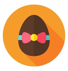 Easter egg with bow knot circle icon vector