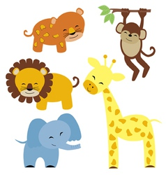 baby safari animals vector image