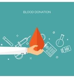 Blood donation flat medical vector