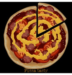 Pizza freehand drawing vector
