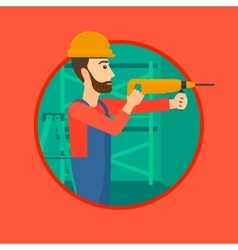 Worker with hammer drill vector