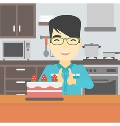 Man looking at cake with temptation vector