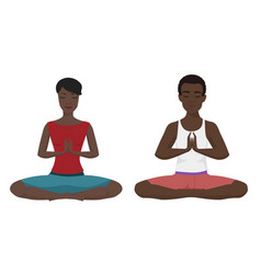 african american couple yoga vector image vector image