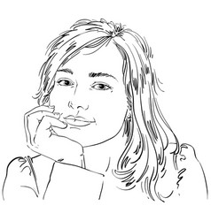 Art drawing of pensive romantic woman with vector