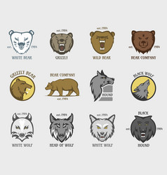 Bear and wolf head animal badge vector