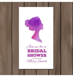 Bridal shower invitation with watercolor elements vector