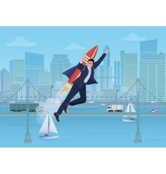 Businessman flying by the rocket on the modern vector image