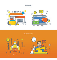 career growth and shopping store vector image vector image
