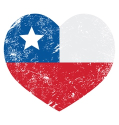 Chile retro heart shaped flag vector